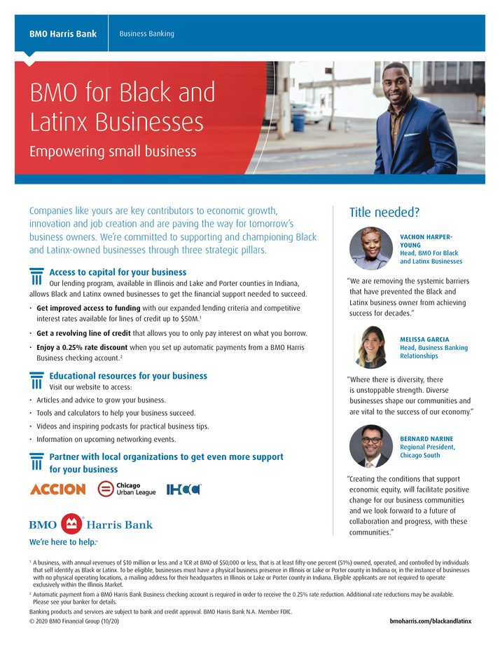 BMO Harris Bank Launches Business Banking Program for Black, Latinx Businesses