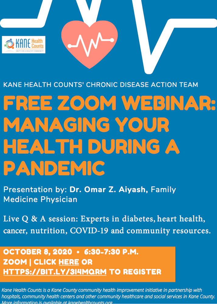 Kane County Health Department To Hold Free Zoom Webinar on October 8th...
