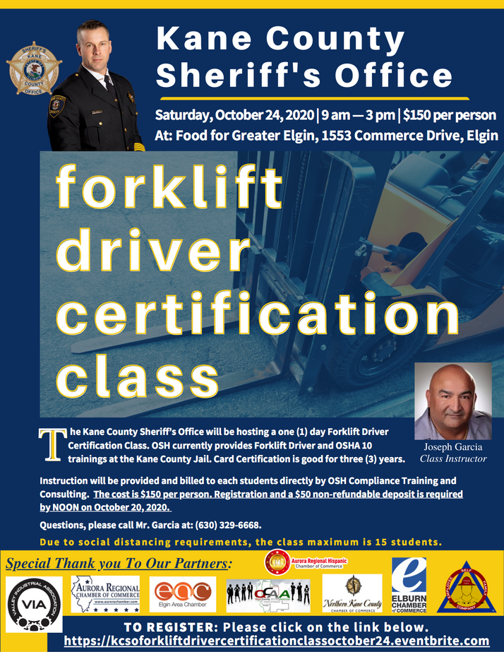 Kane County Sheriff's Office To Hold Forklift Driver Training October 24th in Elgin, IL