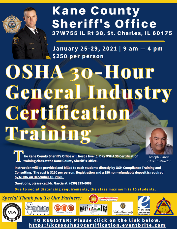 Kane County Sheriff's Office To Hold OSHA Certification Training January 25-29th in Elgin, IL