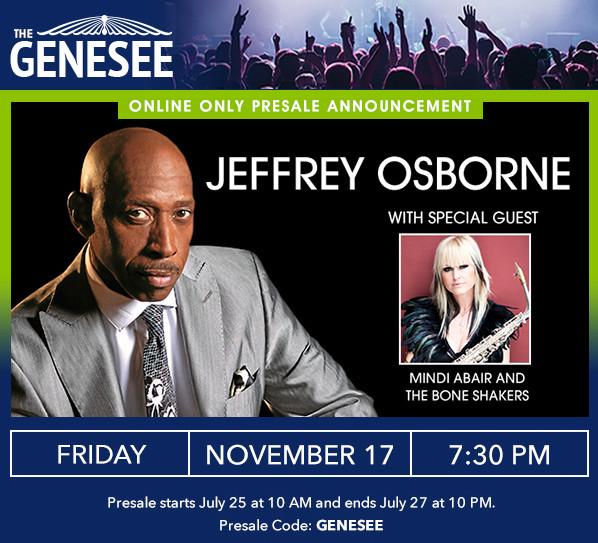 Tickets On Sale Now For R & B Legend Jeffrey Osborne; Nov. 17th in Waukegan, IL