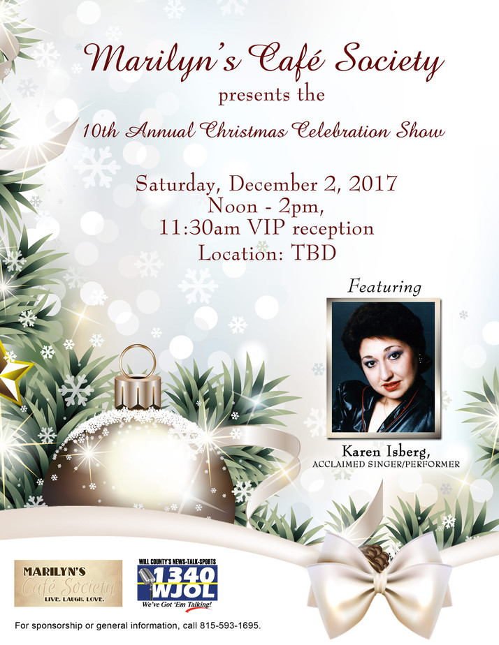 10th Annual Christmas Celebration Show  By Marilyn's Cafe Society Scheduled Dec. 2nd.