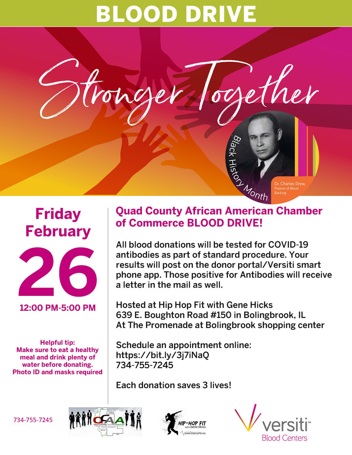 QCAACC, Versiti Blood Centers To Hold Blood Drive February 26th In Bolingbrook, IL