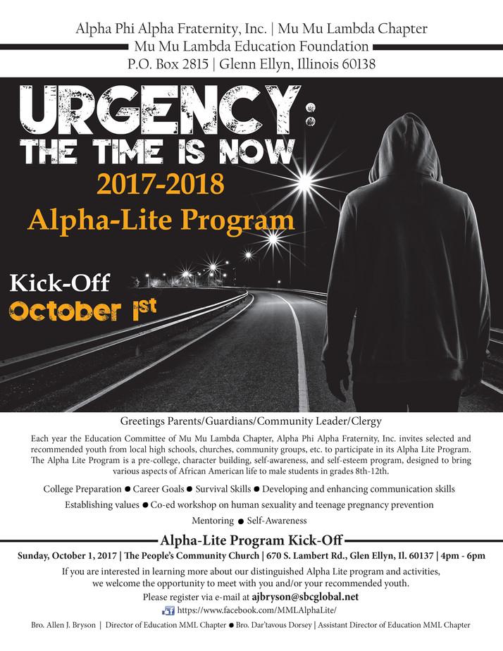 Now Open: Alpha Lite Mentoring Program for Young Men 2017-2018