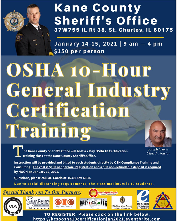 Kane County Offers Industry Certification Training January 14-15th...
