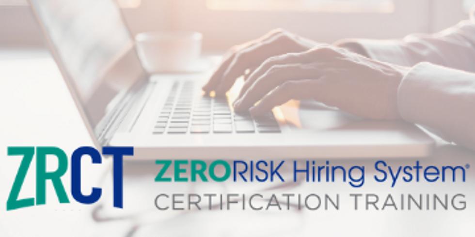 ZERORISK Certification Training: October 2022 Virtual Series
