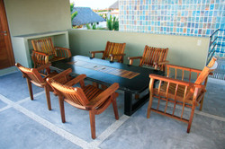 Furniture in the Rooftop palapa.