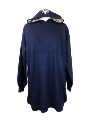 Cashmere Lounge Hoodie & Dress – Navy Blue