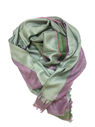 Embroidery Linear Kantha – Green & Purple