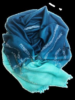 Minimal Embroidery Tie & Dye –Turquoise Petrol