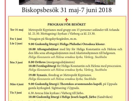 Uppdaterat program för biskopsbesöket 31 maj-7 juni 2018