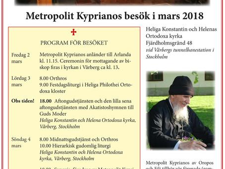 Metropolit Kyprianos besök i mars 2018