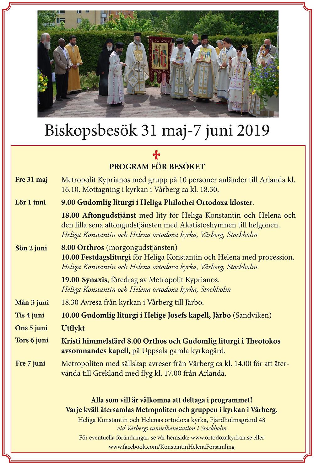 Biskopsbesök 31 maj-7 juni 2019