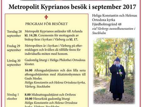 Program för Metropolit Kyprianos besök i september 2017