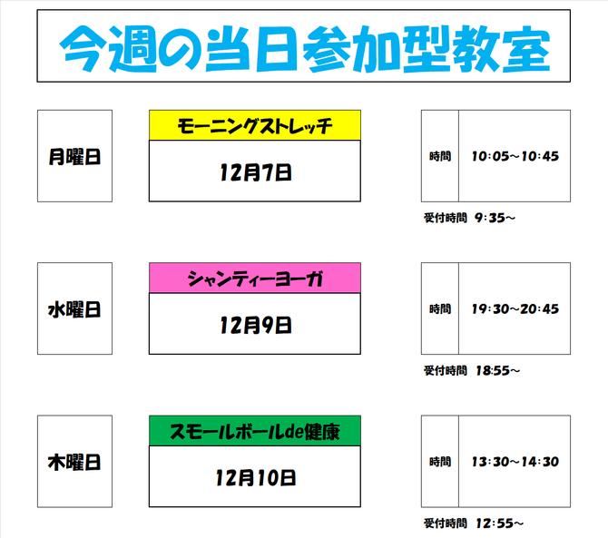 12月7日から10日までの当日参加型教室 お知らせ