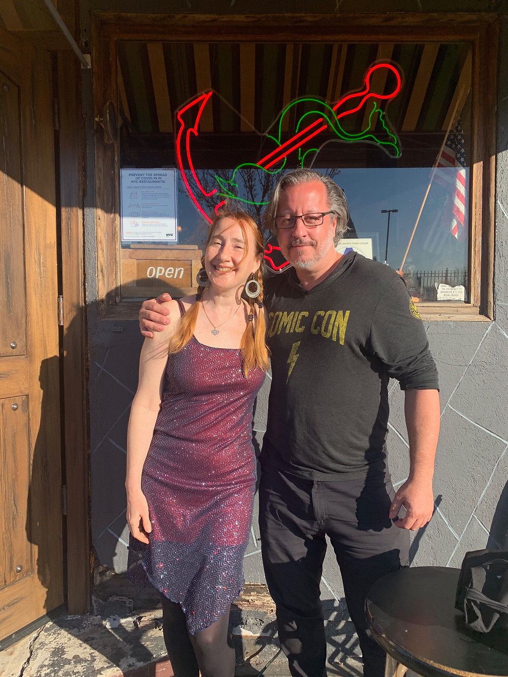 Amy Stein-Milford and Dean Haspiel Outside Sunny's Bar in Red Hook