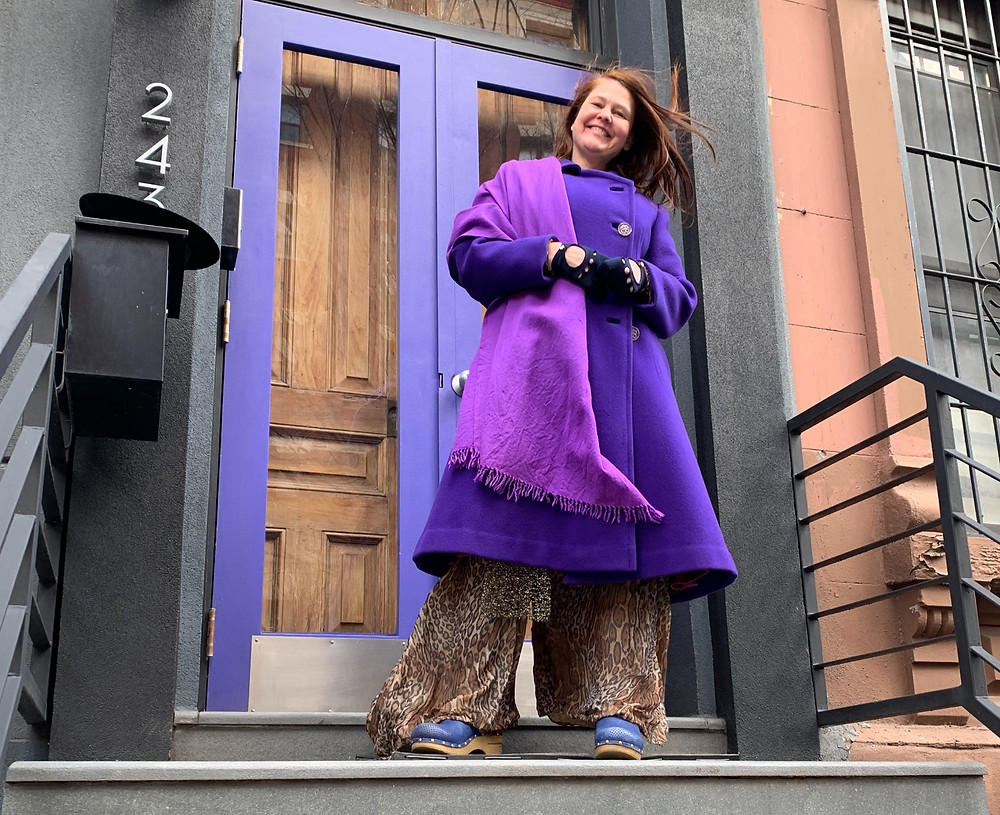 Purple overcoat and scarf inspired by Kamala Harris's Inauguration outfit