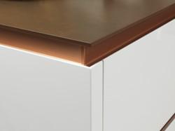 Linear Matt Walnut, Gloss Pure White, Copper Trim Detail 1