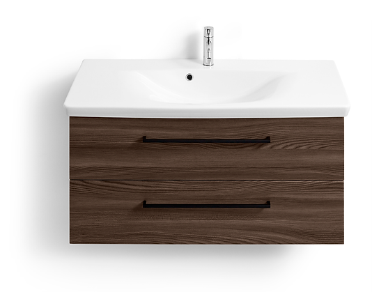 Bathroom storage in a range of colours and finishes shown in our Guildford showroom