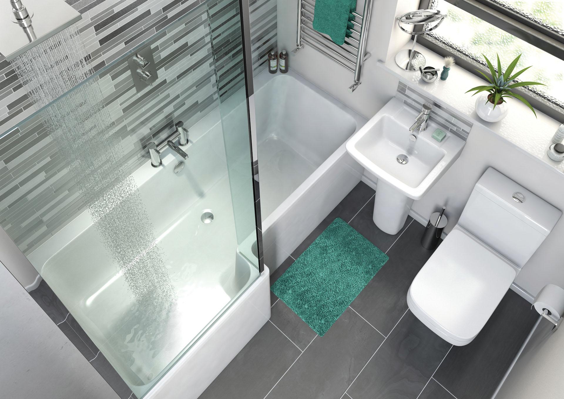 L Shape shower Bath