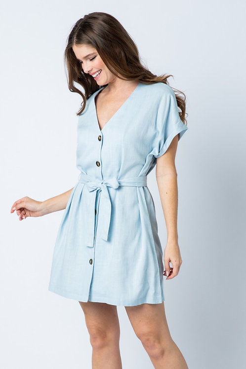 Wrap Around Blue Dress