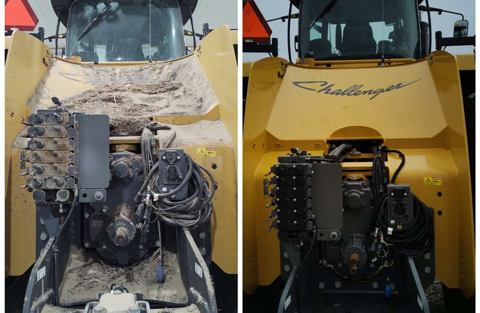 Before and After side-by-side comparison of our first custom-tractor wash. Thanks Mike Biblow!