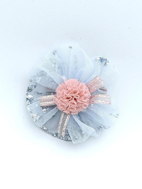 Silver Glitter hair clip Skyblue