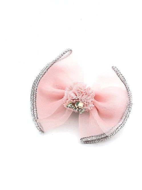 Bow Pom Pom Hair clip Blush