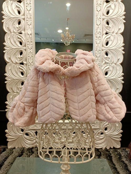 Fur Shrug Dusty Pink With Brooch