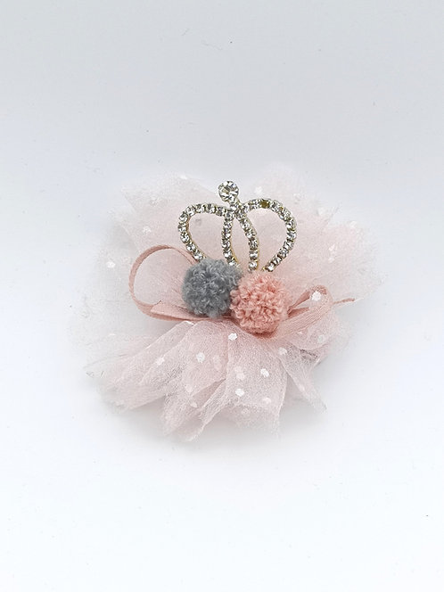 Pom Pom Crown Hair clip Lightpink