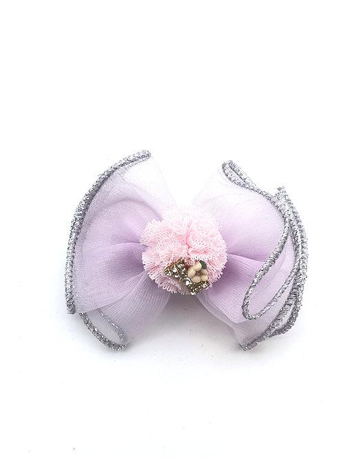 Bow Pom Pom Hair clip Lavender