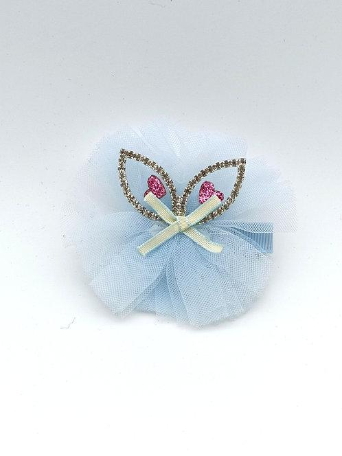 Cat ear diamante Hair clip Blue