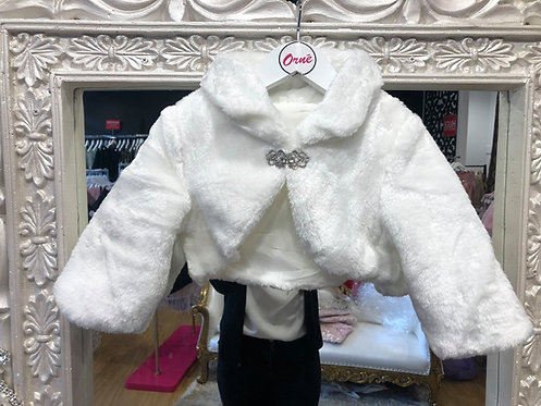 White Fur Shrug With Brooch