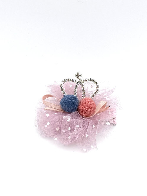 Pom Pom Crown Hair clip Lavender