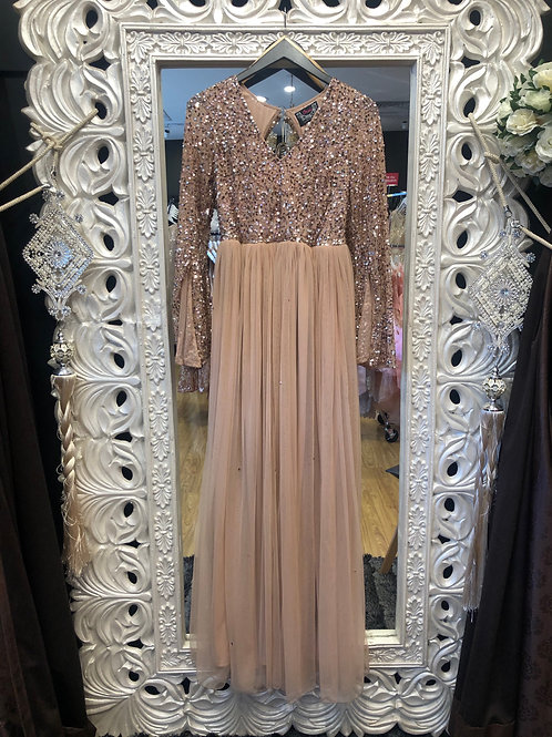 Claire  Taupe Long sleeve dress