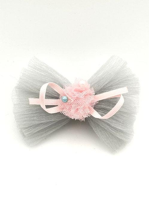 Bow tissue Hair clip GREY