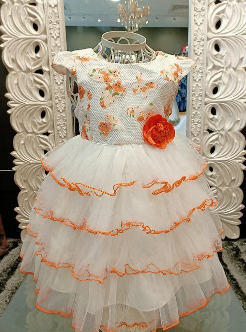 INDIA white/orange dress