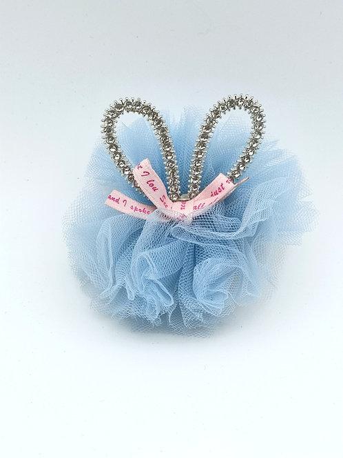 Bunny ear diamante Hair clip Blue