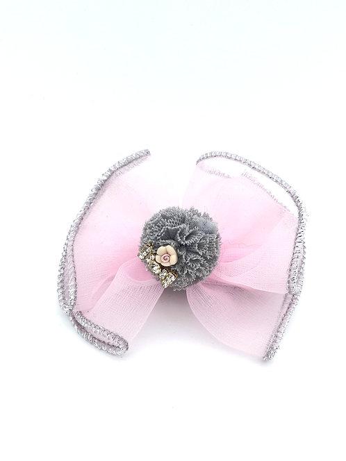 Bow Pom Pom Hair clip Pink