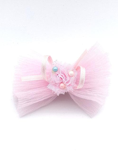 Bow tissue Hair clip PINK