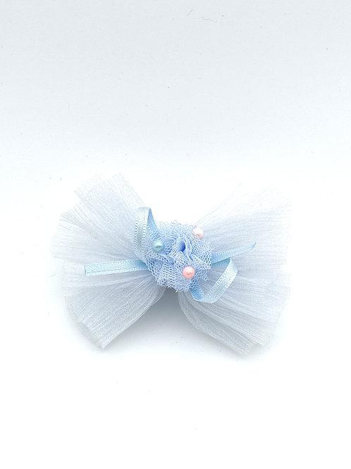 Bow tissue Hair clip BLUE