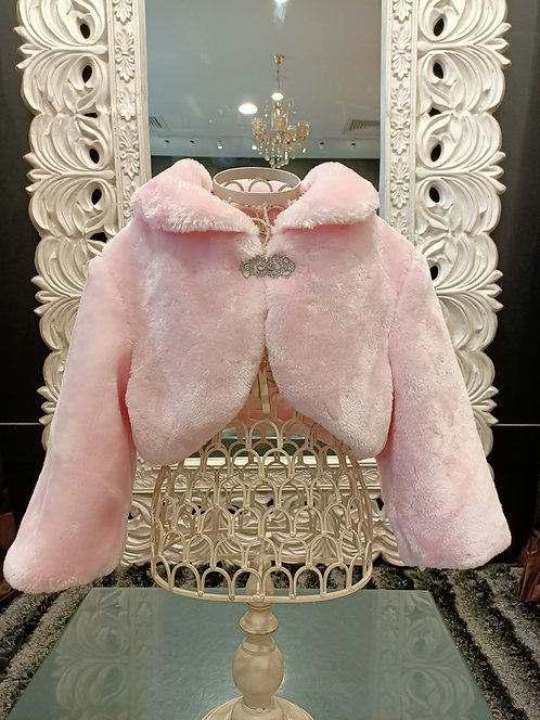 Fur Shrug Pink With Brooch