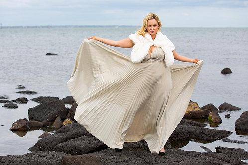 MIRNA Pleated Champaigne Dress