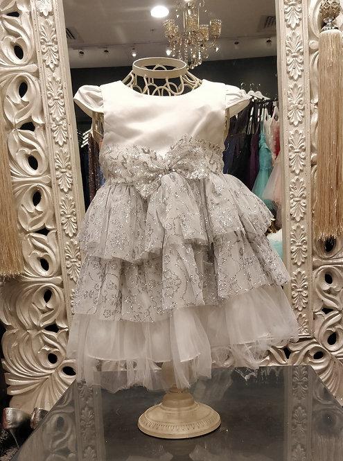 GWEN White/Silver Baby Dress