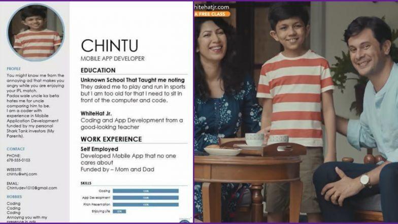 Chintu, the wonder kid from WhiteHatJr TVC