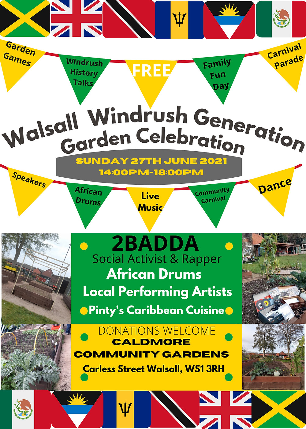 Walsall Windrush Generation Garden Celebration - 27th June 2021 from 2pm to 6pm