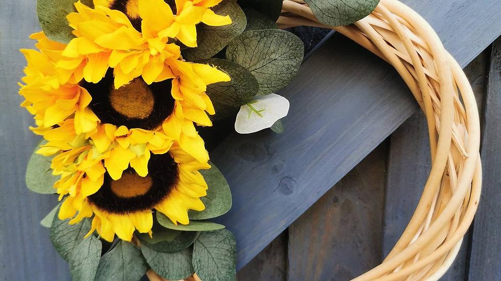 Sunflower wreath, eucalyptus, Floral Wreath, Summer Wreath, Everyday Wreath, doo