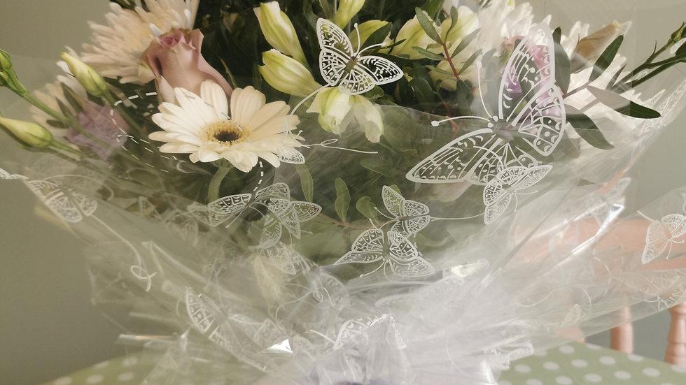 Handtied aqua pack bouquet avil. Thursday to Saturday
