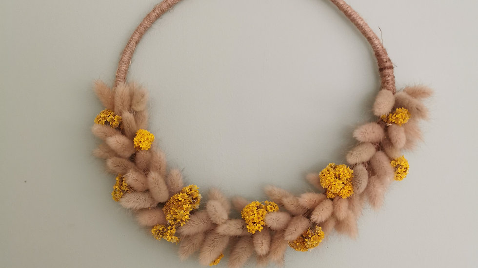 Dried flower Bunny tails and Yellow Sanfordii wall hanging wreath.