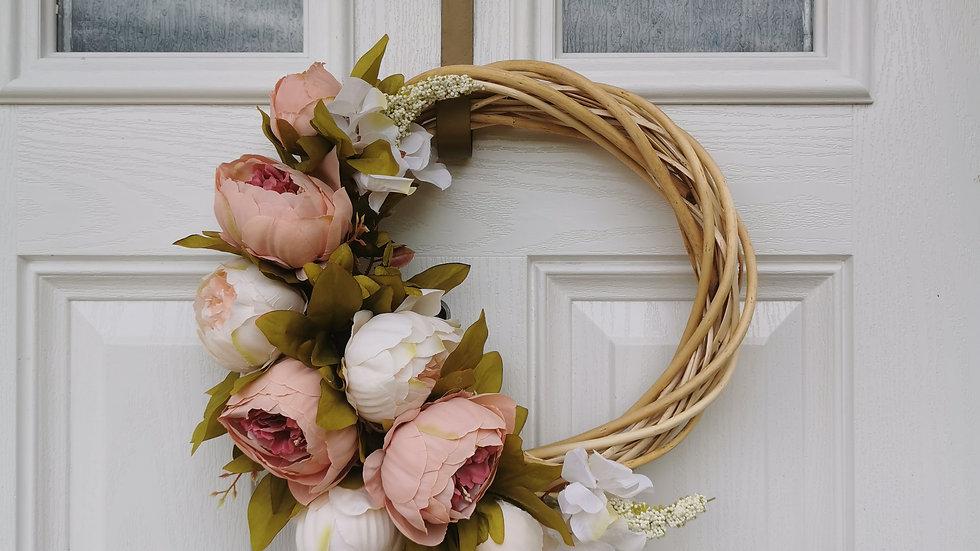 Vintage peony half wreath, light or dark wreath